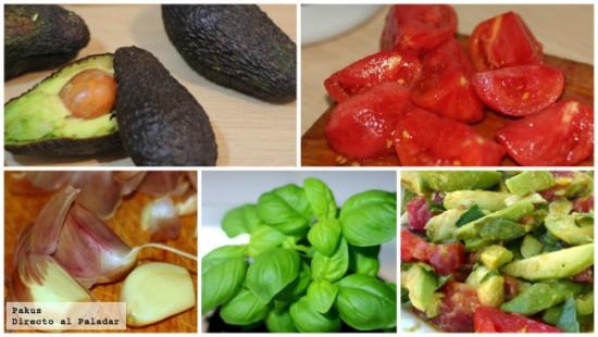 Ensalada de aguacate, albahaca y tomate