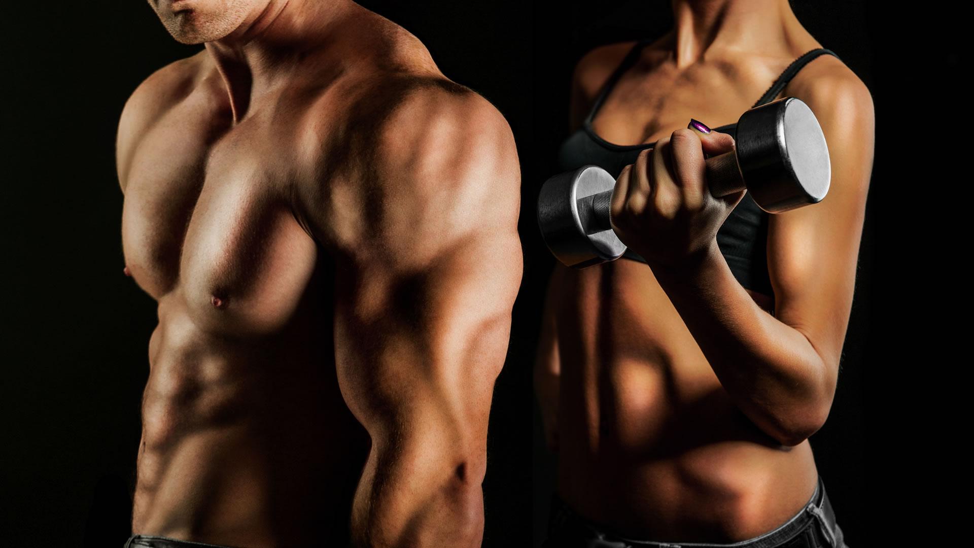 Entrenamiento de rutina de ejercicios con mancuernas