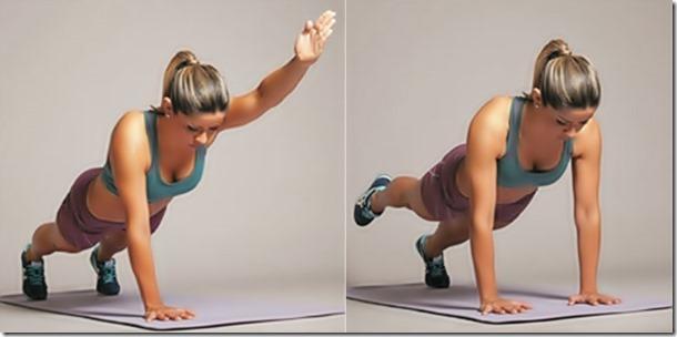 Plancha abdominal con los brazos hacia adelante