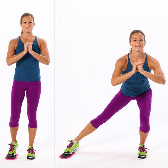 Para entrenar las piernas zancada lateral