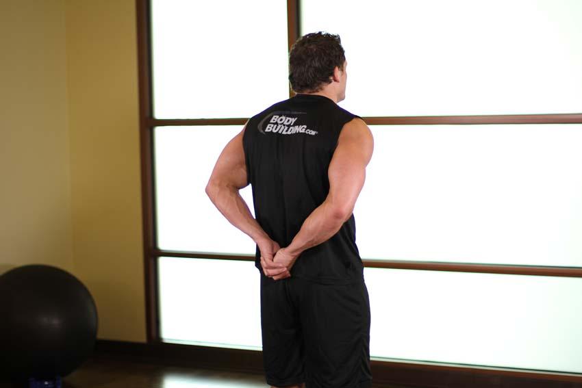 Estiramiento de bíceps de pie